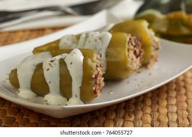 Turkish dish biber dolma, stuffed pepper