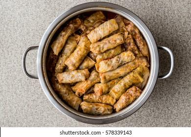 Turkish dolma Lahana Sarmasi / cabbage rolls in a pot.