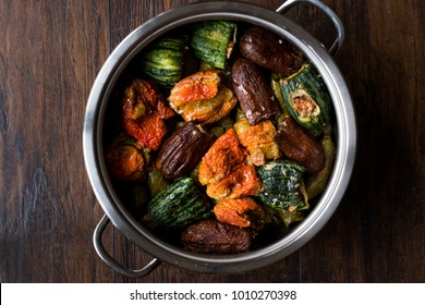Turkish Dolma with Minced Meat Red pepper and Aubergine or Eggplant.