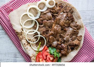 Turkish Doner Kebab on a lavash / Shawarma Beef.