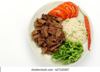 Turkish Doner Kebab on plate / Shawarma Beef.