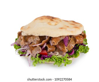 Turkish Doner Kebab Sandwich isolated on white background.