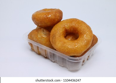 turkish donut ( lokma ) on the plate isolated