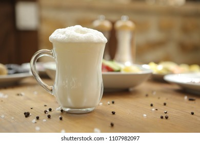 Turkish Drink Ayran or Kefir / Buttermilk made with yogurt.