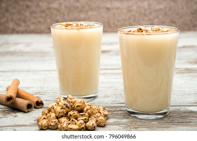 Turkish Drink Called Boza with Roasted Chick-pea