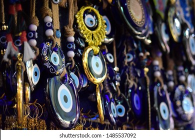 Turkish Eye amulet or Nazar Amulet in the Grand Bazaar in Istanbul. The evil eye is a curse or legend believed to be cast by a malevolent glare, usually given to a person when they are unaware.