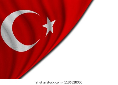 Turkish flag with cotton texture on white background