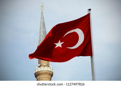 The Turkish flag is developing in the wind in Istanbul, Turkey on May 28, 2014.