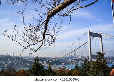 Turkish Flag and the Fatih Sultan Mehmet Bridge photo, taken from Otagtepe, Beykoz in Istanbul, Turkey