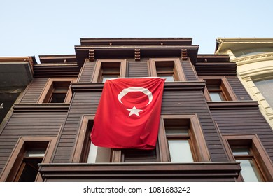 Turkish flag hanging from private house. Istanbul, Turkey.