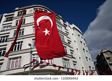 The Turkish flag hangs on from balcony in Istanbul, Turkey Oct. 29, 2015