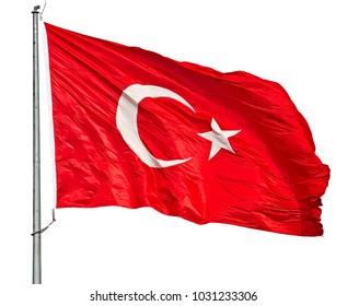 Turkish flag isolated over white background