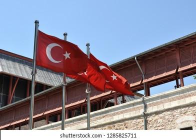 Turkish flag on a pole