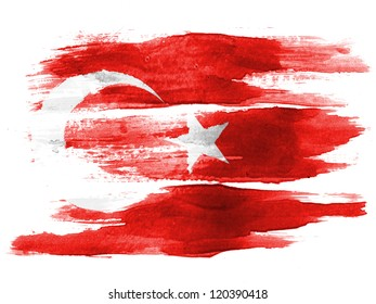 The Turkish flag painted on  white paper with watercolor