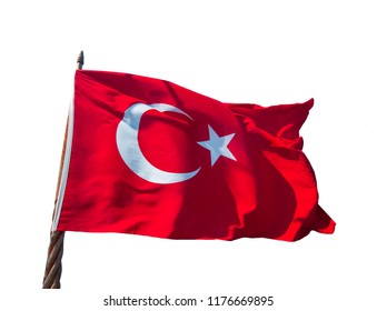 Turkish flag waiving isolated on white