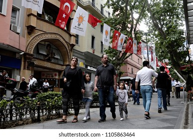 Turkish Flags and flags of a Justice and Development party (AKP) in the streets of Istanbul, Turkey on Jun. 2, 2015