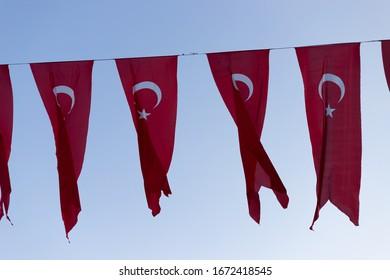 Turkish flags towards the sky