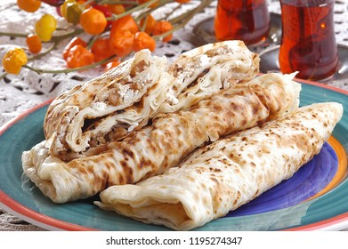Turkish flat bread with cheese, gozleme
