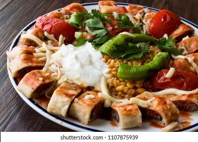 Turkish Food Beyti Kebap / Shawarma Kebab with Yogurt