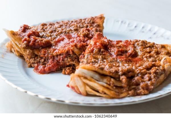 Turkish Food Kayseri Yaglama with Minced Meat, Yogurt and Tomato Paste