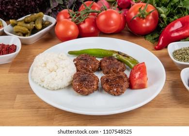 Turkish Food Kofte or Kofta .Spicy meatballs Kebab / Kebap