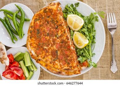 Turkish Food; Lahmacun