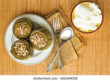 Turkish foods; artichoke stuffed (enginar dolma)