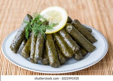Turkish foods; stuffed leaves (yaprak sarma dolma)