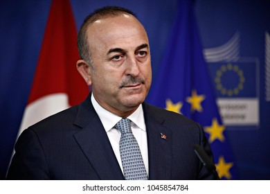 Turkish Foreign Minister Mevlut Cavusoglu holds a news conference at the European Commission in Brussels, Belgium July 25, 2017.