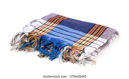 Turkish fouta isolated on white background. Side view.