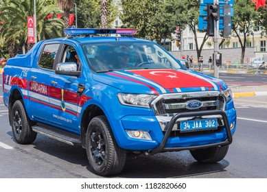 Turkish gendarme cars parade at Turkish 30 August Victory day.Soldiers in formation in Istanbul,Turkey.30 August 2018