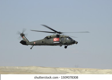 Turkish Gendarme helicopter in sky ( Sikorsky S-70A Blackhawk)