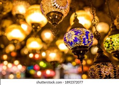 Turkish glass mosaic lamp in grand bazaar vintage