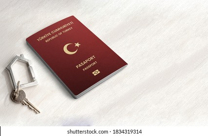 Turkish International Passport and key with trinket house on it on wood background close up copy space, real estate, citizenship by Investment