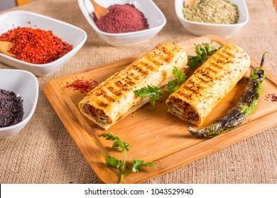turkish kebab durum on wood