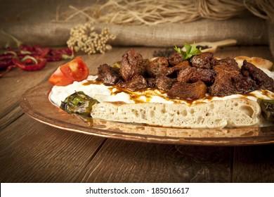 Turkish Kebab eggplant and meat alinazik