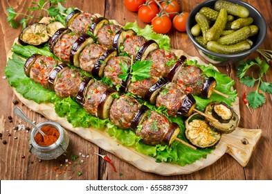 Turkish Kebab eggplant and meatballs. Turkish cuisine - Patlican Kebab
