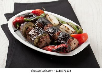 Turkish Kebab eggplant and meatballs, Patlıcan Kebap