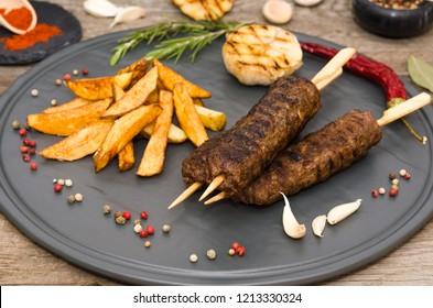 Turkish kebab with french fries. Kebab. Shish kafta