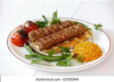 Turkish Kebab with Vegetables on the  Plate