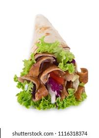 Turkish Kebab Yufka isolated on white background.
