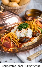turkish kebap,  Turkish Traditional Manisa Kebap, Tire Kofte serving on metal plate, Turkey City Manisa Kebab Kofte Food, manisa kebabı
