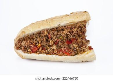 Turkish Kokorec - lamb intestine food sandwich with white background