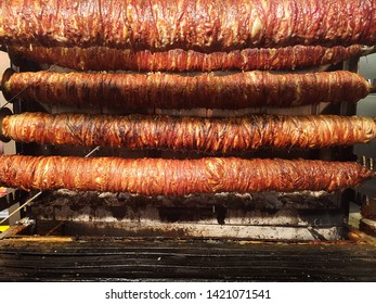 Turkish Kokorec made with sheep bowel cooked in fired oven. Kokorech
