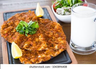 Turkish lahmacun with ayran