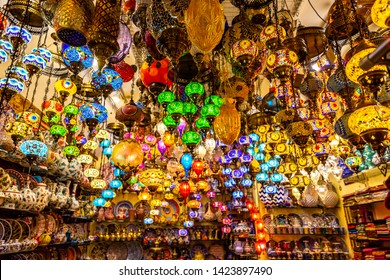 Turkish lamps for sale in the Grand Bazaar, Istanbul, Turkey