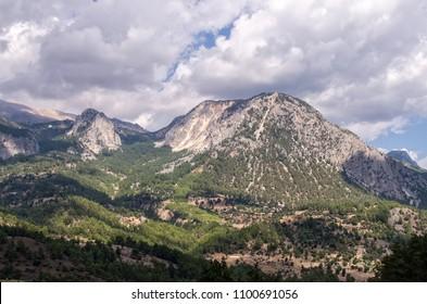 Turkish landscape in Beydaglari Sahil Milli Parki, Toros (Taurus) mountain range, Tekirova, Turkey.