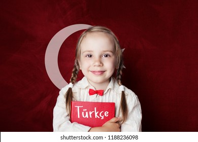 Turkish language concept. Cute child girl student on the Turkey flag background. Learn turkish language