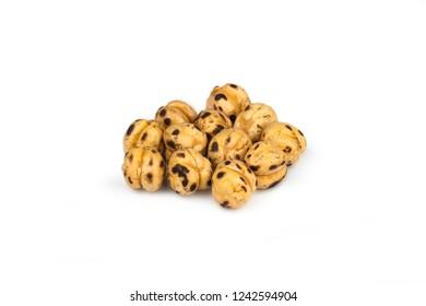 turkish leblebi, famous nut,  yellow roasted chickpea, isolated on white background, roasted chickpeas