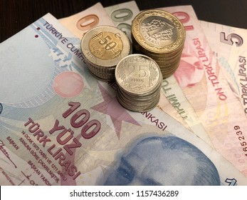 Turkish lira banknotes and coins